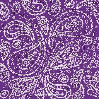 紫色の背景に白大ざっぱペイズリー