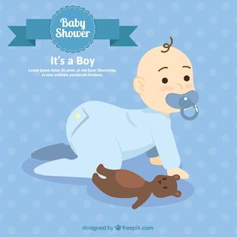 ハンドテディベアと赤ちゃんを描か
