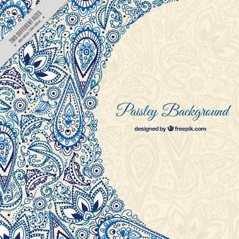 ブルースケッチ花柄ペイズリーの背景