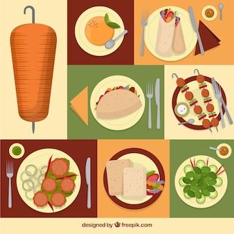 アラビア食品料理のコラージュ