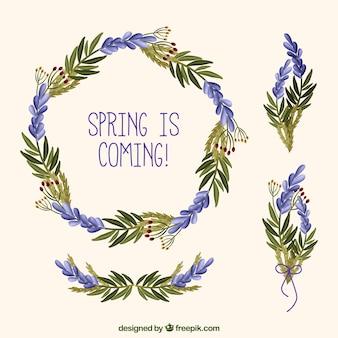 ハンドラベンダーの花の花輪を描か