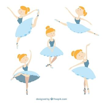 異なる姿勢での素敵なバレエダンサー