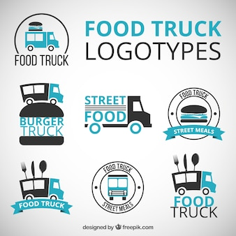 Ручной обращается логотипы грузовик еды с голубыми деталями