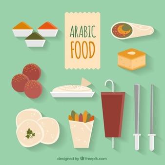 アラビア食品メニューのフラット多様