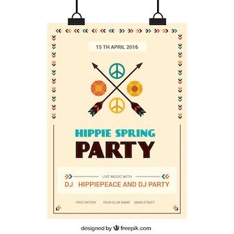 ヒッピーのシンボル春のポスターの矢印