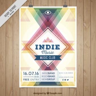 幾何学的なインディー音楽ポスター