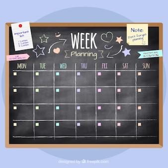 黒板で手描き週間の計画