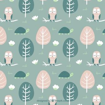 素敵なフクロウパターンで手描きの木