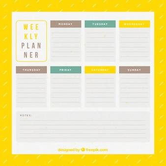 Еженедельный планировщик в желтый цвет