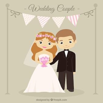 花輪との素敵な結婚式のカップル