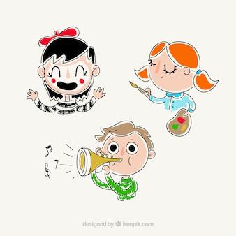 才能のある手描きの子供たち