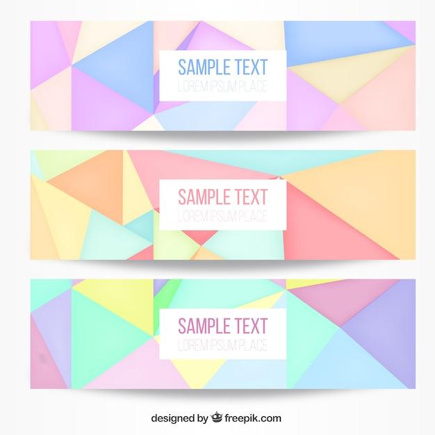 柔らかな色調で多角形のバナー