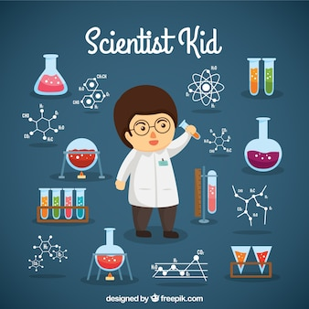 ラボのオブジェクトを持つ科学者の少年