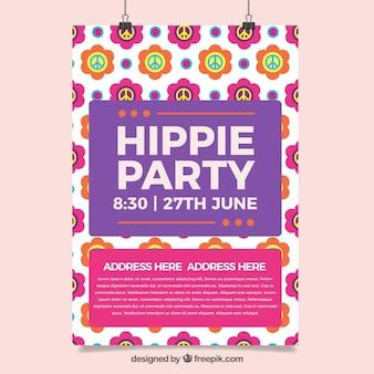 ヒッピーのシンボルスプリングパーティーのポスターと色とりどりの花