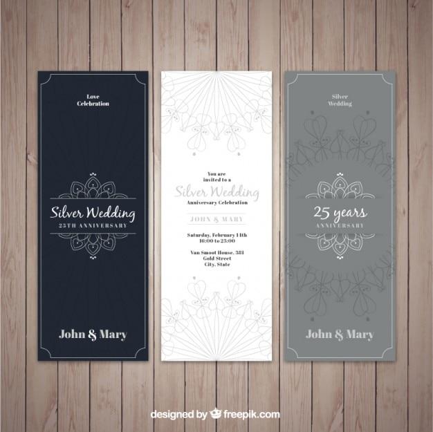 Элегантные серебряные свадебные приглашения
