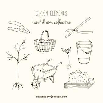 Коллекция рисованной элементы сада
