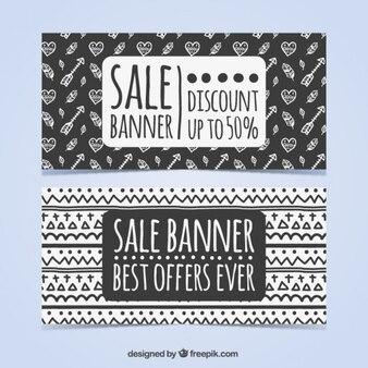 Черно-белые этнические продажи баннера