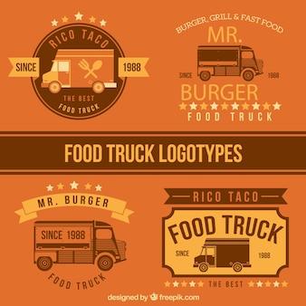 フラットフードトラックのデザインのロゴテンプレート