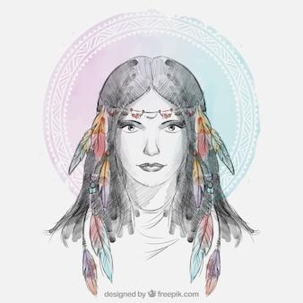 羽のヘアバンドと民族の女性