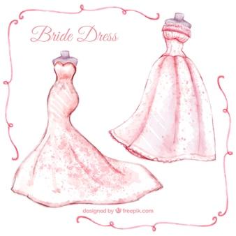 水彩画の近代花嫁のドレス