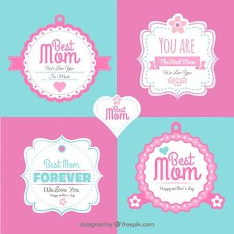 День этикетки декоративные матери в стиле винтаж