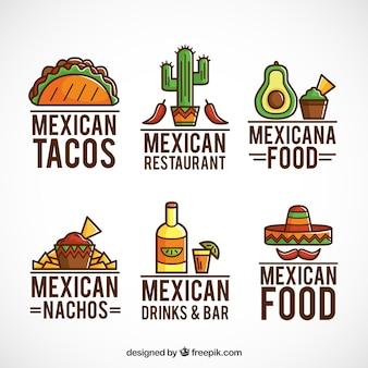 Мексиканский коллекция еды логотипы с контуром