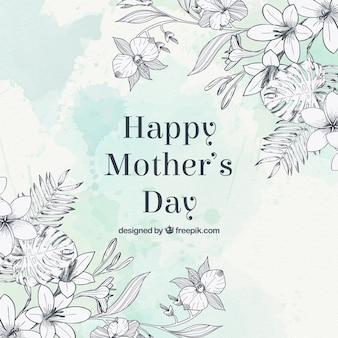 Наброски цветы день матери приветствие