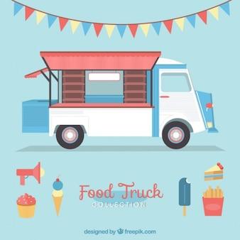 Симпатичные старинные грузовик питание с мороженым и гирляндой