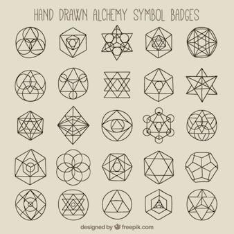 幾何学的なシンボルとバッジ