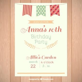 День рождения карты с милой гирляндой