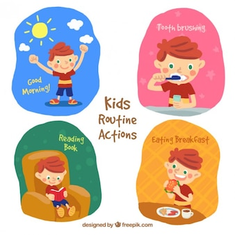 Ручная роспись ребенок делает обычные действия