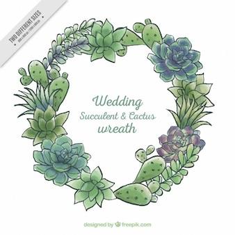 水彩手描きの結婚式のサボテンの花輪