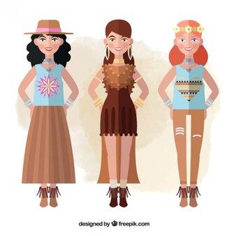 自由奔放に生きるスタイルの服を着て三つのモデル