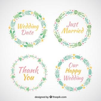 言葉での結婚式の花の花輪のコレクション