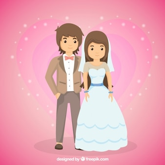 恋に若い結婚式のカップル