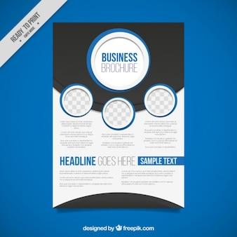 青い丸と抽象ビジネスパンフレット
