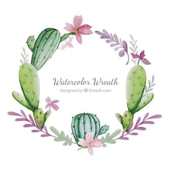 花とサボテンと水彩花輪