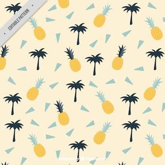 ヤシの木とパイナップルと夏のパターン