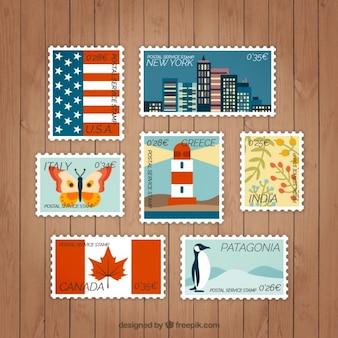 異なる図面とフラット切手のコレクション