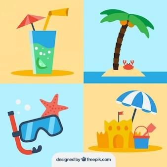 フラットなデザインの夏の要素