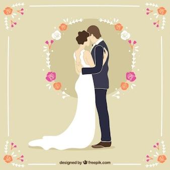 美しい手描きの結婚式のカップル