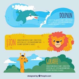 Набор диких животных баннеров