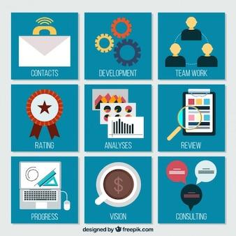 フラットなデザインのビジネス要素