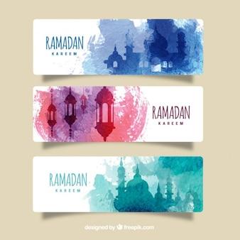 色の水彩画は、ラマダンのバナーを飛沫
