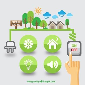 フラットな再生可能エネルギーのグラフィック