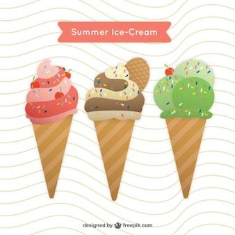 Вкусные и цветные мороженое с вафлями