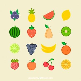 平らな夏の果物のコレクション