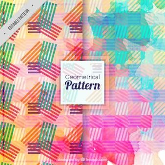 水彩色のストライプの抽象的なパターン