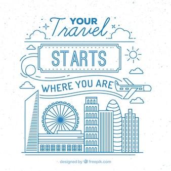 Симпатичные путешествия иллюстрация с синим контуром