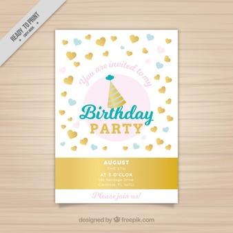 Приглашение на день рождения с золотыми сердцами